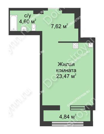 Студия 38,11 м² в ЖК Караваиха, дом № 5