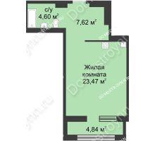 Студия 38,11 м² в ЖК Караваиха, дом № 5 - планировка