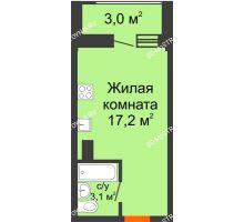 Студия 21,8 м² в ЖК Подкова на Родионова, дом № 2 - планировка