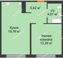 1 комнатная квартира 42,47 м² в ЖК Акватория, дом ГП-1 - планировка