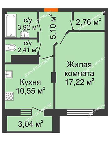 1 комнатная квартира 43,48 м² в ЖК Облака, дом № 2