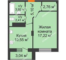 1 комнатная квартира 43,48 м² в ЖК Облака, дом № 2 - планировка