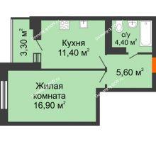 1 комнатная квартира 38,1 м² в ЖК Вересаево, дом Литер 5/1 - планировка