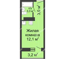 Студия 18,4 м² в ЖК ЮГ, дом № 20 - планировка