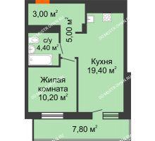 1 комнатная квартира 45,9 м² в ЖК Корица, дом № 1 - планировка