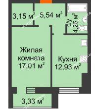1 комнатная квартира 44,54 м² в ЖК Парк Горького, дом 62/18, № 6 - планировка