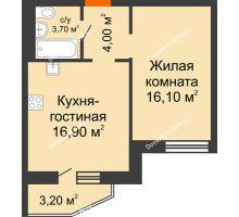 2 комнатная квартира 42,3 м² в ЖК 5 Элемент - Монолит (Пятый Элемент), дом Корпус 5-7 - планировка
