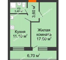 1 комнатная квартира 41,8 м² в ЖК Сиреневый квартал, дом Секция 3 - планировка