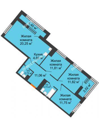 3 комнатная квартира 80,91 м² в ЖК Дом на Набережной, дом № 1