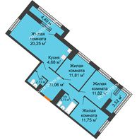 3 комнатная квартира 80,91 м² в ЖК Дом на Набережной, дом № 1 - планировка