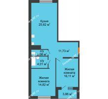 2 комнатная квартира 76,3 м² в ЖК Юго-Западный, дом ГП-1 - планировка