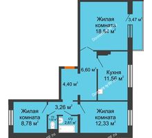 3 комнатная квартира 70,44 м² в ЖК Иннoкeнтьeвcкий, дом № 6 - планировка