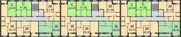 Планировка 2 этажа в доме № 15 в ЖК Куйбышев