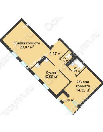 2 комнатная квартира 61,58 м² в ЖК Воскресенская слобода, дом №1