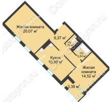 2 комнатная квартира 61,58 м² в ЖК Воскресенская слобода, дом №1 - планировка