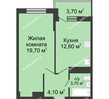 1 комнатная квартира 41,9 м² в ЖК Первый, дом Литер 1 - планировка