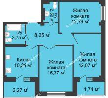3 комнатная квартира 70,6 м² в ЖК Соловьиная роща, дом № 1 - планировка