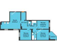 3 комнатная квартира 89,51 м², ЖК Инстеп.Победа - планировка