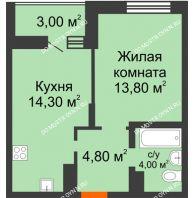 1 комнатная квартира 39,9 м² в ЖК Подкова на Цветочной, дом № 8 - планировка