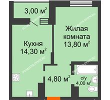 1 комнатная квартира 38,4 м² в ЖК Подкова на Цветочной, дом № 8 - планировка