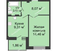 1 комнатная квартира 38,15 м² в ЖК Соловьиная роща, дом № 7 - планировка