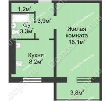 1 комнатная квартира 37,8 м² в ЖК Сормовская сторона, дом № 4 - планировка