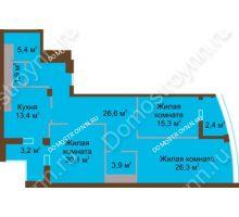 3 комнатная квартира 118,5 м² в ЖК Монолит, дом № 89, корп. 1, 2 - планировка