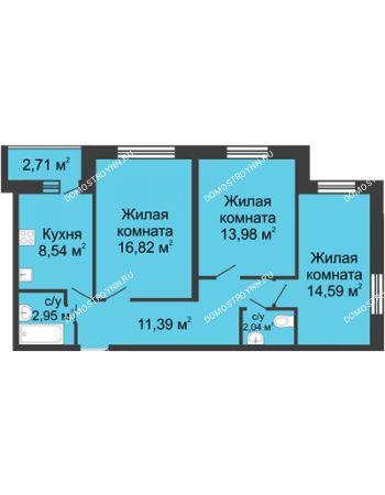3 комнатная квартира 71,67 м² - ЖК Волжский-Берег