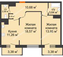 2 комнатная квартира 67,87 м² в ЖК Покровский, дом № 1 - планировка