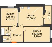 2 комнатная квартира 63,3 м² в ЖК Вересаево, дом Литер 5/1 - планировка