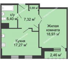 1 комнатная квартира 51,03 м² - ЖК Сергиевская Слобода