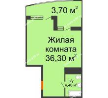Студия 44,4 м² в ЖК Элегант, дом Литер 11 - планировка