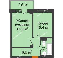 1 комнатная квартира 37,8 м², ЖД Подзолкова - планировка