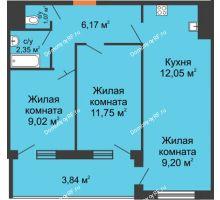 3 комнатная квартира 55,45 м² в ЖК Оникс, дом Литер 4 - планировка