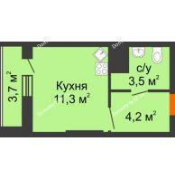 Студия 22,7 м², ЖК Космолет - планировка