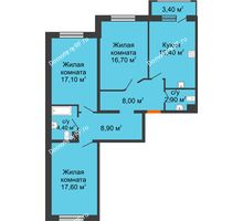 3 комнатная квартира 92,7 м² в ЖК Италия, дом Литер 9 - планировка