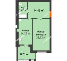 1 комнатная квартира 60,09 м² в ЖК Свобода, дом 2 очередь - планировка