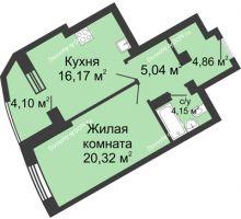 1 комнатная квартира 54,64 м², ЖК Юбилейный - планировка