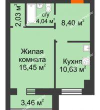 1 комнатная квартира 45,28 м² в ЖК Парк Горького, дом 62/18, № 6 - планировка