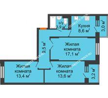 3 комнатная квартира 68,6 м² в ЖК Жюль Верн, дом № 1 корпус 2 - планировка