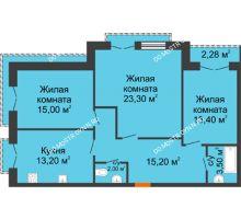3 комнатная квартира 86,74 м², Жилой дом: г. Дзержинск, ул. Кирова, д.12 - планировка