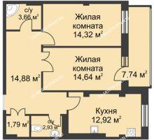 2 комнатная квартира 67,46 м² в ЖК Премиум, дом №1
