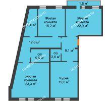 3 комнатная квартира 121,7 м², Жилой дом: ул. Варварская - планировка