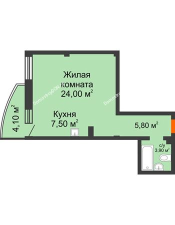 1 комнатная квартира 42,4 м² - ЖК Южная Башня