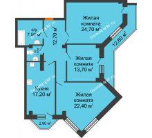 3 комнатная квартира 112,4 м² в ЖК Архиерейская роща, дом № 54б - планировка