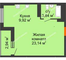Студия 38,37 м², ЖК Орбита - планировка