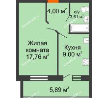 1 комнатная квартира 37,32 м² в ЖК Южный бульвар, дом №14 - планировка