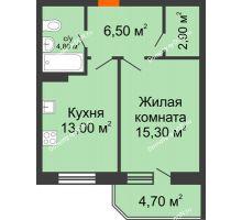 1 комнатная квартира 47,2 м² в ЖК Звездный-2, дом № 4 - планировка