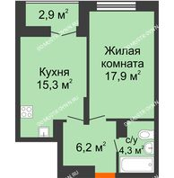 1 комнатная квартира 45,15 м² в ЖК Заречье, дом №1, секция 2 - планировка