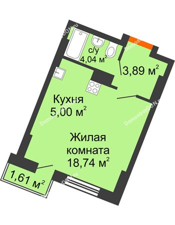 Студия 26,65 м² в ЖК Мечников, дом ул. Мечникова, 37
